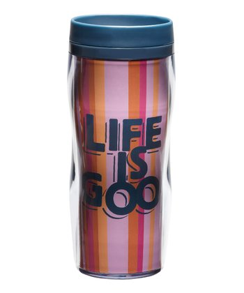 Tangerine Stripe 'Life Is Good' 16-Oz. Acrylic Travel Mug