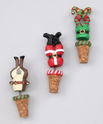 Boston Warehouse Night Before Christmas Bobble Bottle Stoppers Set