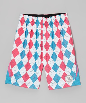 Blue Argyle Performance Shorts - Kids