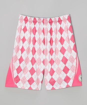 Light Pink Argyle Performance Shorts - Kids