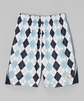 Navy & Sky Blue Argyle Performance Shorts - Boys