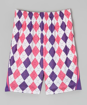Purple & Pink Argyle Performance Shorts - Kids