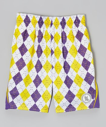 Purple & Yellow Argyle Performance Shorts - Kids