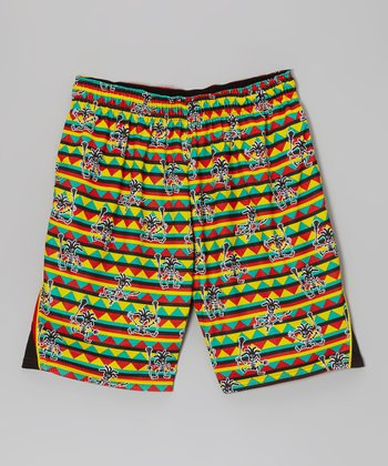 Red & Yellow Rasta Skeleton Performance Shorts - Boys