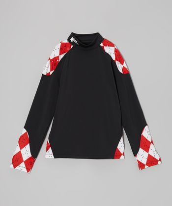 Red & Black Argyle Long-Sleeve Mock Turtleneck - Boys