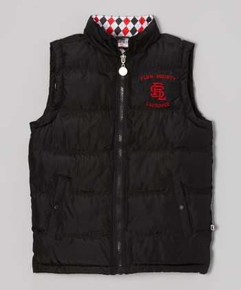 Black Argyle Puffer Vest - Boys