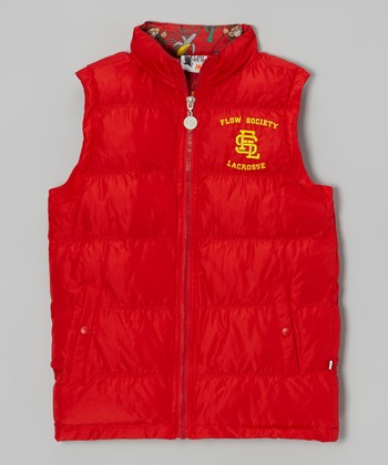 Red Monkey Puffer Vest - Boys
