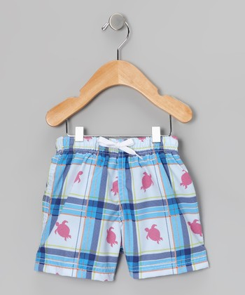 Blue Plaid Turtle Swim Trunks - Toddler & Boys