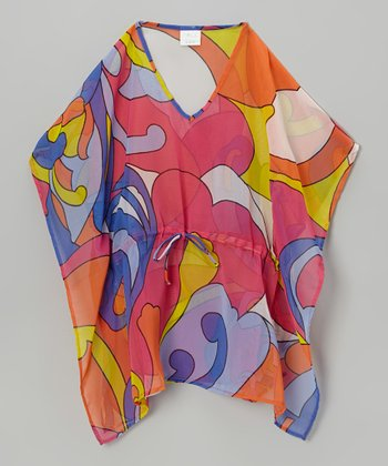 Orange & Purple Sixties Kaftan - Girls