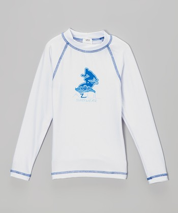 White & Blue Long-Sleeve Rashguard - Infant, Toddler & Kids