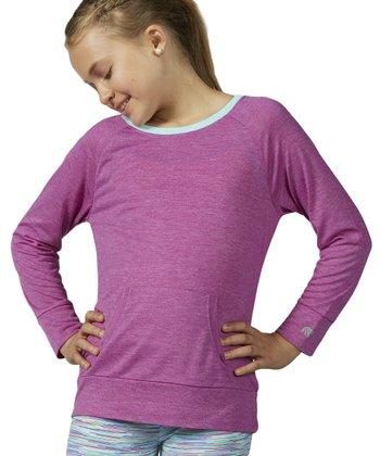 Heather Neon Purple Boatneck Top - Girls