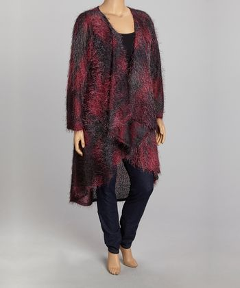 Black & Magenta Abstract Open Cardigan - Plus
