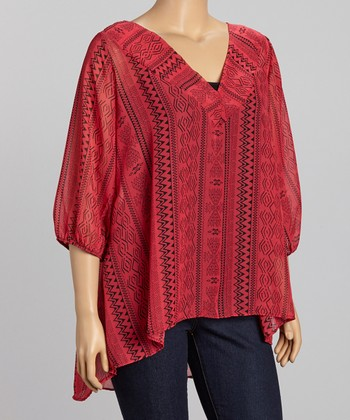 Red Sheer Zigzag V-Neck Top - Plus