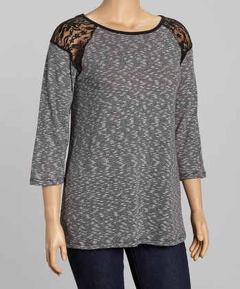 Black & Charcoal Lace Accent Scoop Neck Top - Plus