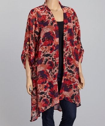 Red Sheer Floral Open Cardigan – Plus