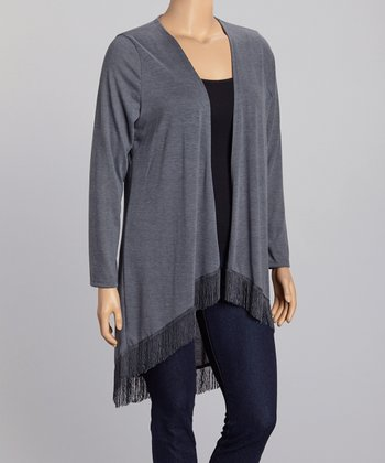 Charcoal Fringe Open Cardigan - Plus