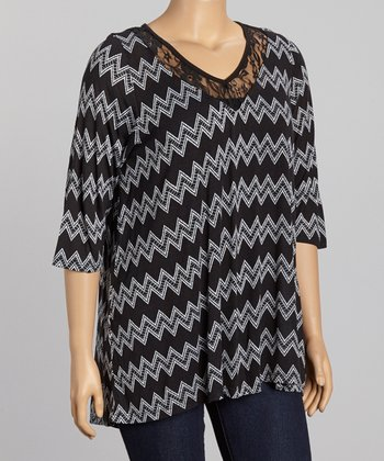 Black & White Zigzag Lace V-Neck Top - Plus