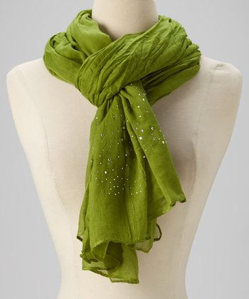 Apple Green Sparkle Chiffon Scarf
