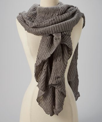 Gray Ribbed Ruffle Scarf