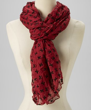 Wine & Black Bow Chiffon Scarf