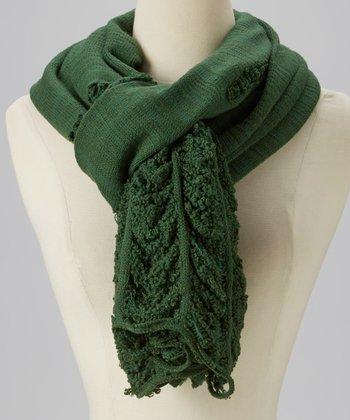 Green Distressed Panel Scarf