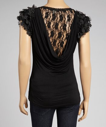 Black Lace-Back Ruffle-Sleeve Top