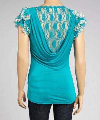 Teal Lace-Back Ruffle-Sleeve Top