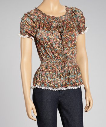 Brown Floral Lace-Trim Peasant Top