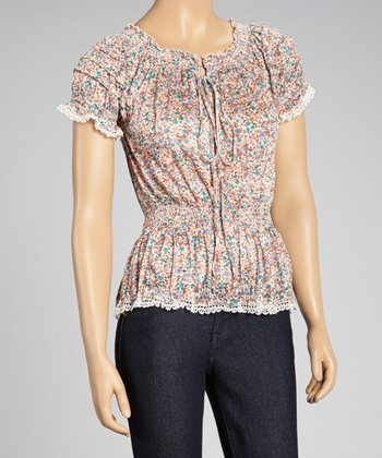 Ivory Floral Lace-Trim Peasant Top