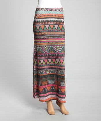 Orange & Pink Tribal Maxi Skirt