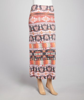 Pink Tribal Maxi Skirt