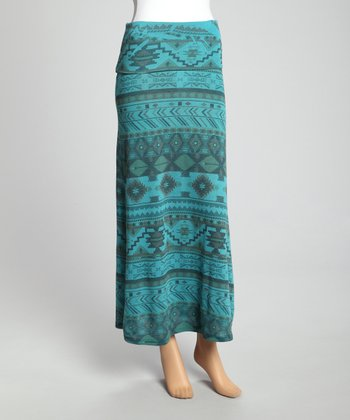 Teal Tribal Maxi Skirt