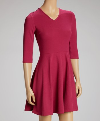 Magenta Lace Back Empire-Waist Dress