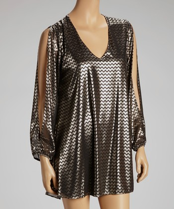 Gold Foil Zigzag Shift Dress