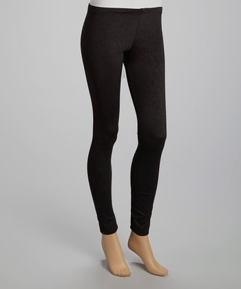 Black Paisley Embossed Leggings