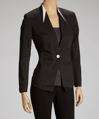 Black Faux Leather Accent Blazer