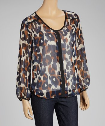 Cream Leopard Sheer Top