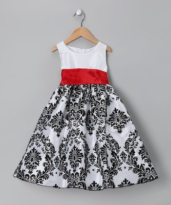 White & Red Damask Taffeta Dress - Infant, Toddler & Girls