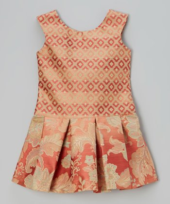 Rust Floral Jacquard Drop-Waist Dress - Girls