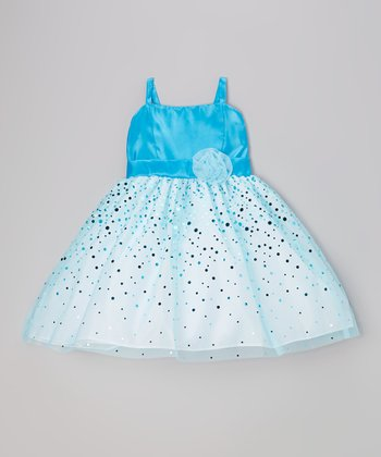 Aqua Glitter Taffeta Dress - Girls