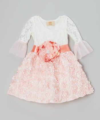 Crème & Pink Lace Rosette Dress - Toddler & Girls