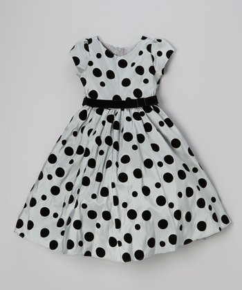 Gray & Black Polka Dot Taffeta Dress - Infant, Toddler & Girls