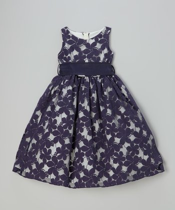 Navy Spring Lace Jasmine Dress - Toddler & Girls
