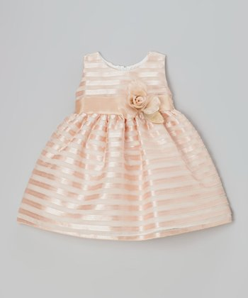 Peach Satin Ribbon Stripe Mesh Dress - Toddler & Girls