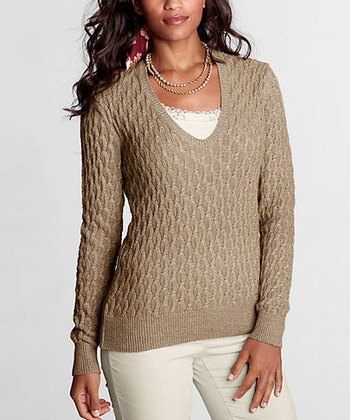 Camel Heather Cable-Knit Meridian Sweater - Petite