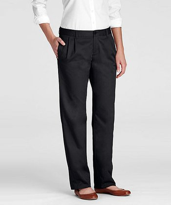 Black Uniform Pleated Chino Pants - Women