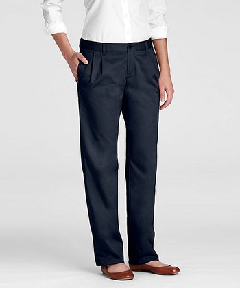 Classic Navy Uniform Pleated Chino Pants - Women