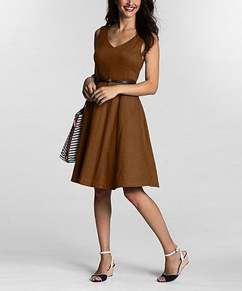 Tawny Linen V-Neck Dress - Women