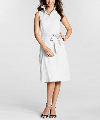 White Sleeveless Poplin Dress - Women