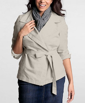 Light Stone Linen-Blend Tie-Waist Jacket - Plus